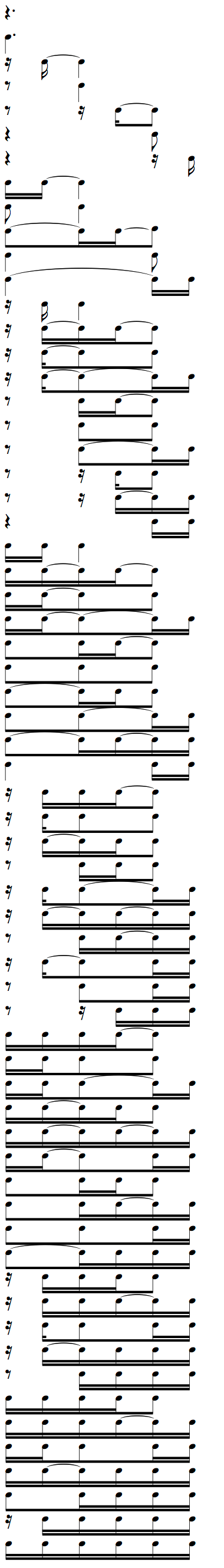 Complete Rhythms cheat sheet for Dotted Quarter Note with 16th Notes Tied Ties Weak Beat