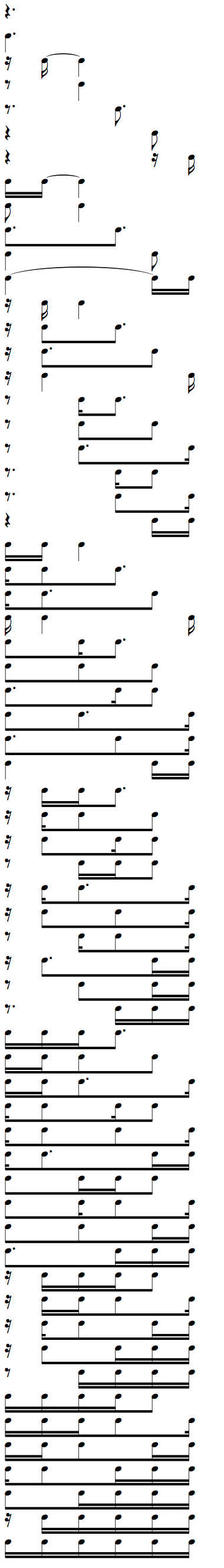 Complete Rhythms cheat sheet for Dotted Quarter Note with 16th Notes